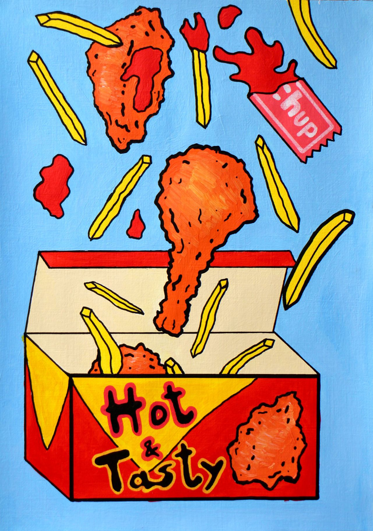 A4 Acrylic Pop Art Food Painting Of A Standard Fried
