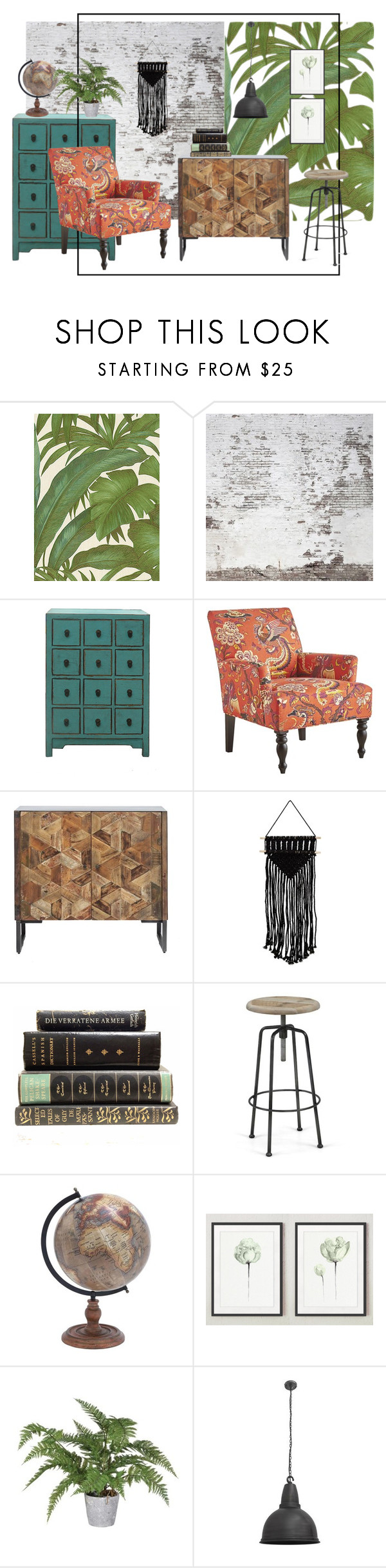 """""""Industrial meets boho"""" by helihannus ❤ liked on Polyvore featuring interior, interiors, interior design, home, home decor, interior decorating, Versace, Pier 1 Imports and NuCasa"""