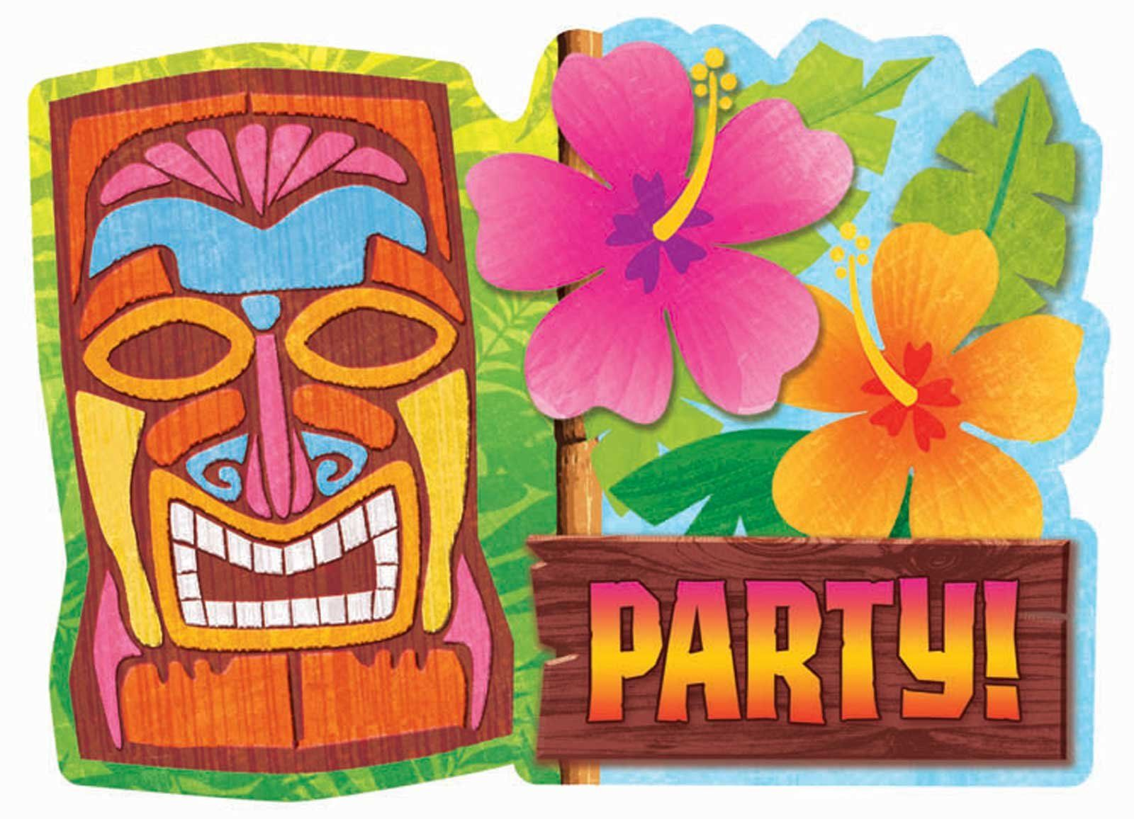 Hawaiian Party Background Tiki luau invitations | Tiki ...
