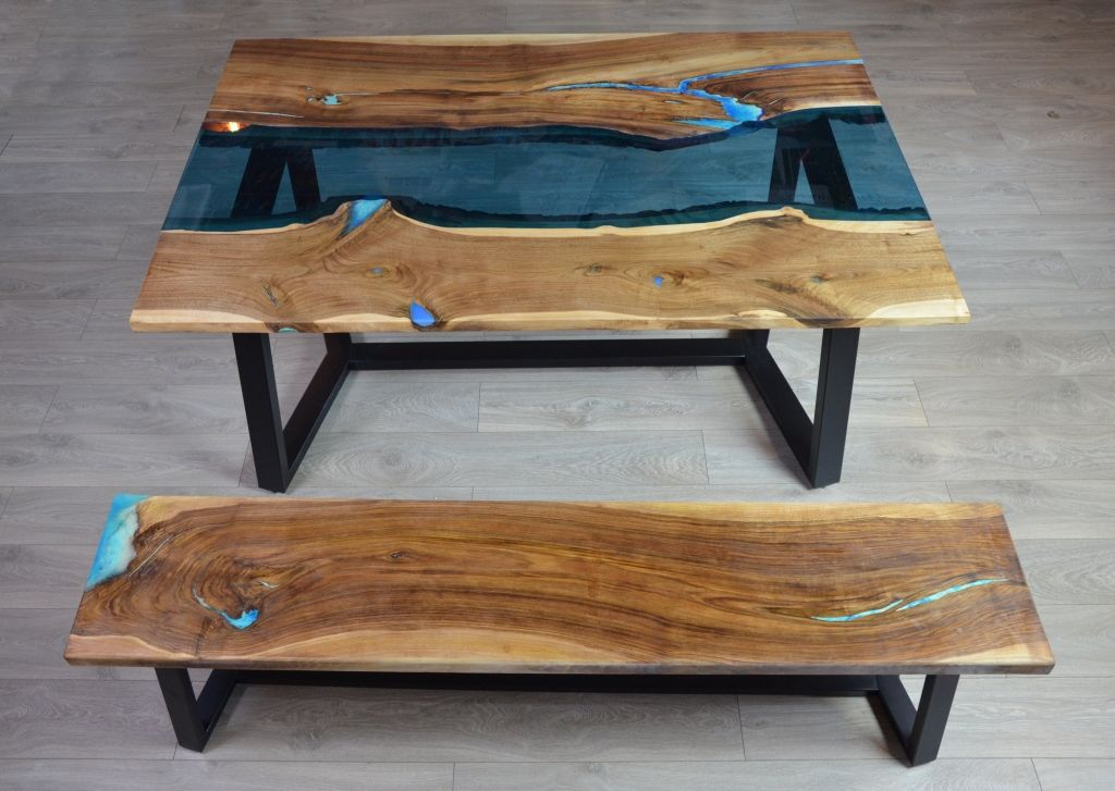 Live Edge River Dining Table With Bench Fine Wooden
