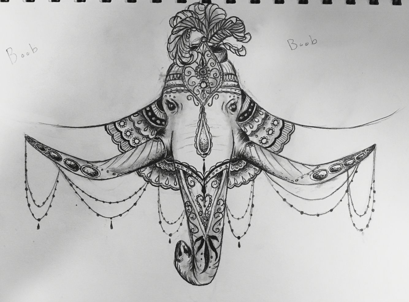 Temporary Underboob Tattoo: Elephant Underboob Tattoo Design
