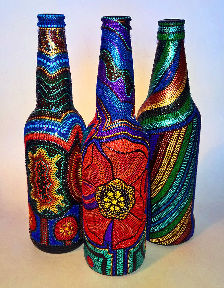 bottle art painting  точечная роспись (point-to-point) http://www.mentalchrome.com ...