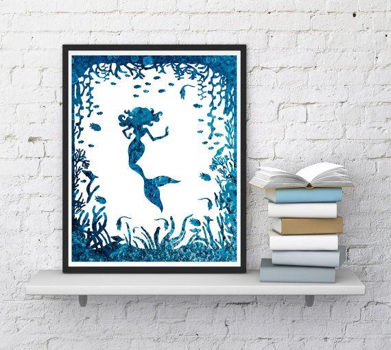 Mermaid print Nursery decor  Mermaid wall by InstantDownloadArt1