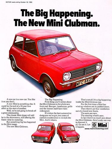 mini clubman retro car advert vintage mini 39 s pinterest voiture voiture vintage et vielle. Black Bedroom Furniture Sets. Home Design Ideas