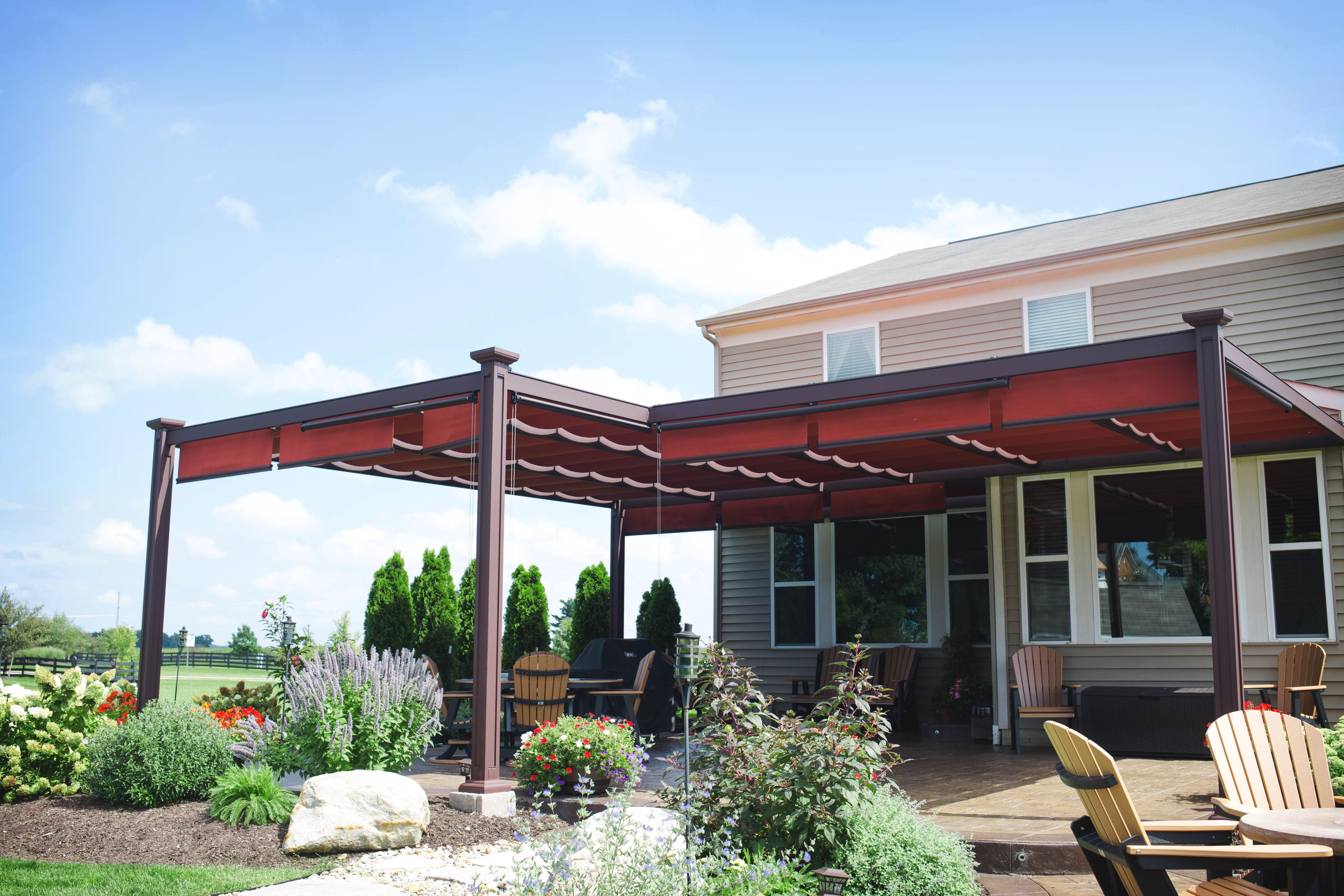 Attached Aluminum Bungalow With Beautiful Red Canopies Covering