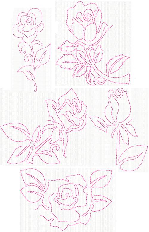 Rose Delight Design White 6 Blocks Per Set Fairway 98106 Quilt Blocks