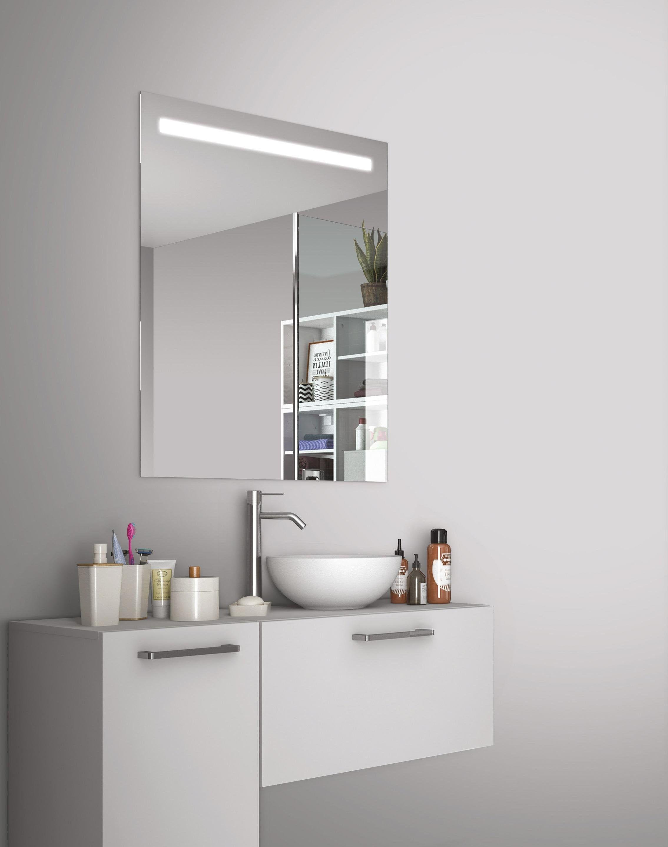 Miroir Lumineux Avec Eclairage Integre L 80 X H 70 Cm Essential Sensea En 2020 Miroir Lumineux Salle De Bains Avec Wc Et Miroir