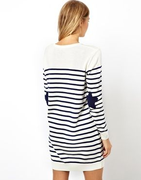 asos  asos striped jumper dress with star patch at asos