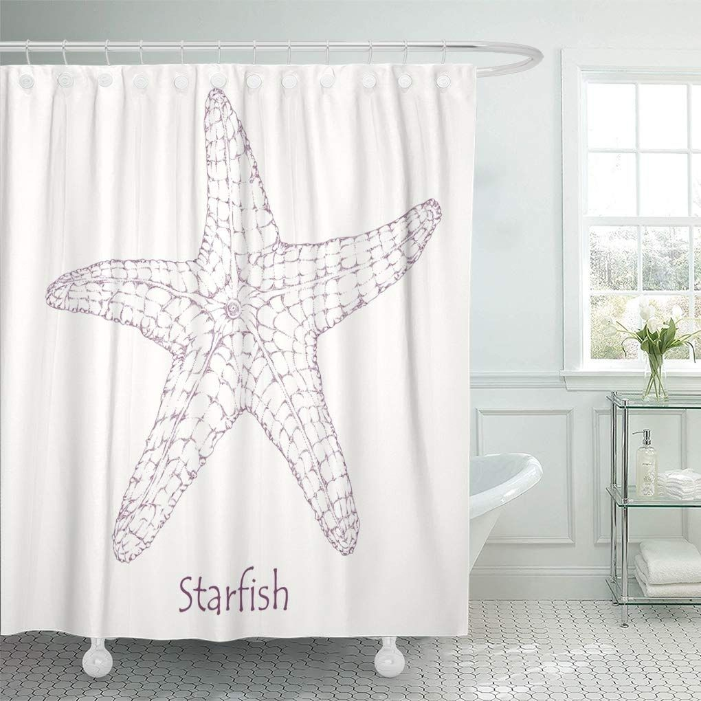Graphic Black Fish Starfish Engraving Ink Sea Star White Shower Curtain In 2020 White Shower Curtain Shower Curtain