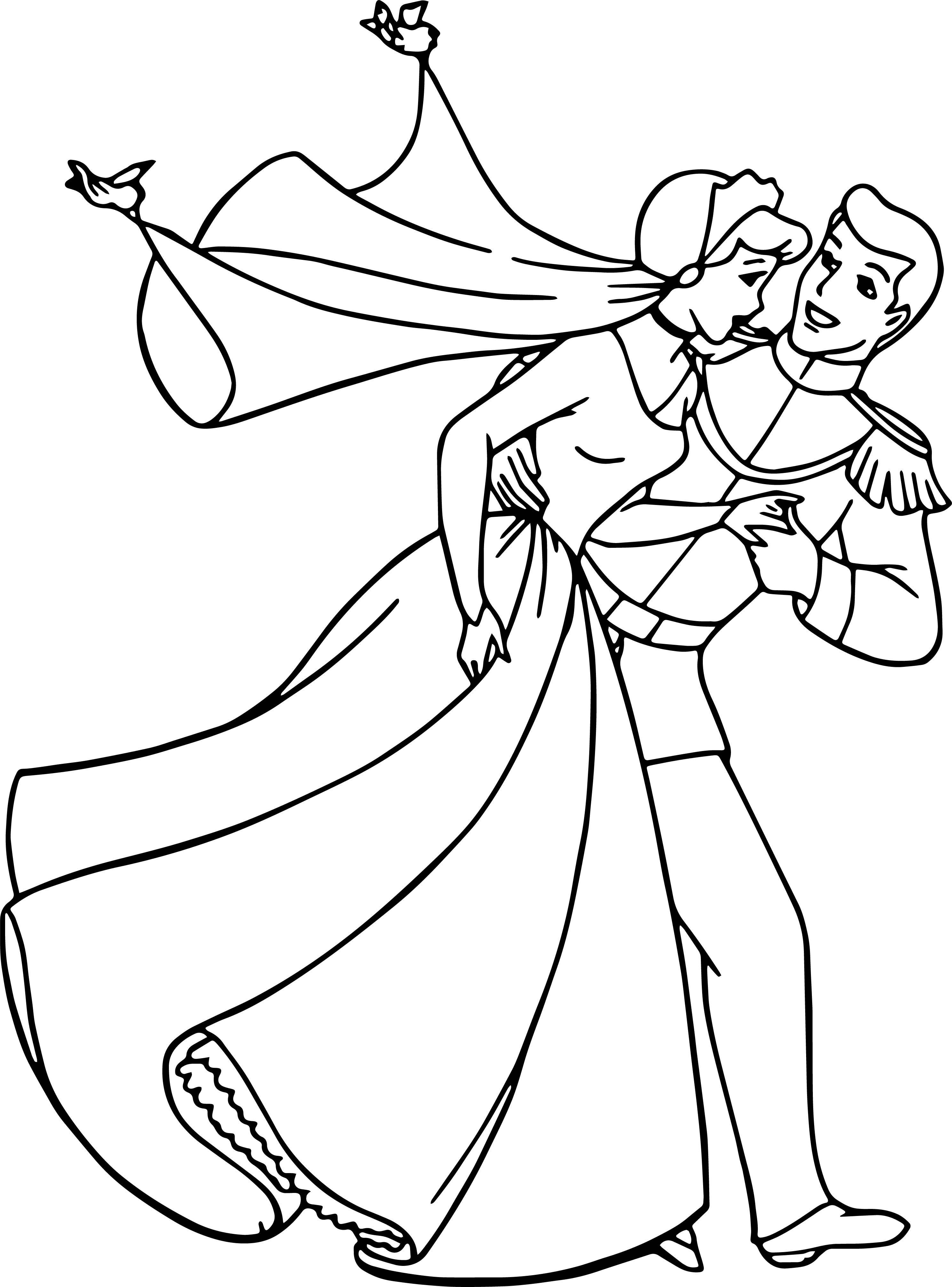 Cinderella And Prince Charming Run Coloring Pages | wecoloringpage ...