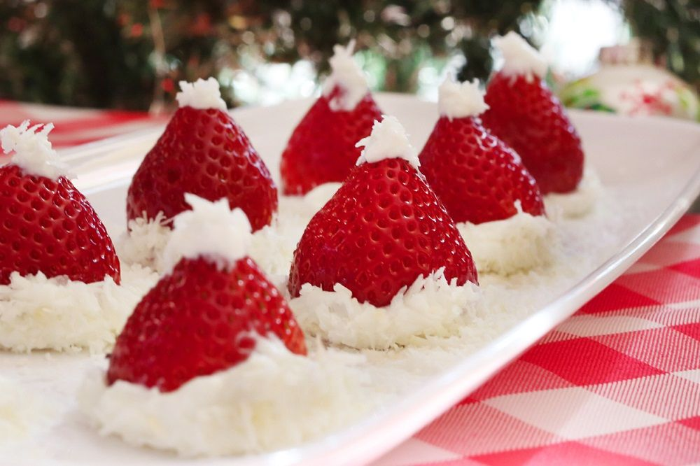 Nothing like a healthy snack with a holiday twist. These strawberries make a great after-dinner treat. In less than 5 minutes you will end up with a guilt-f