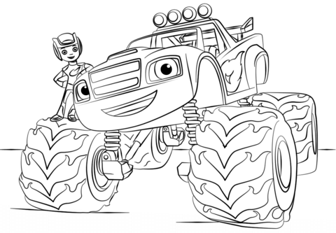 blaze monster truck coloring page from monster truck category