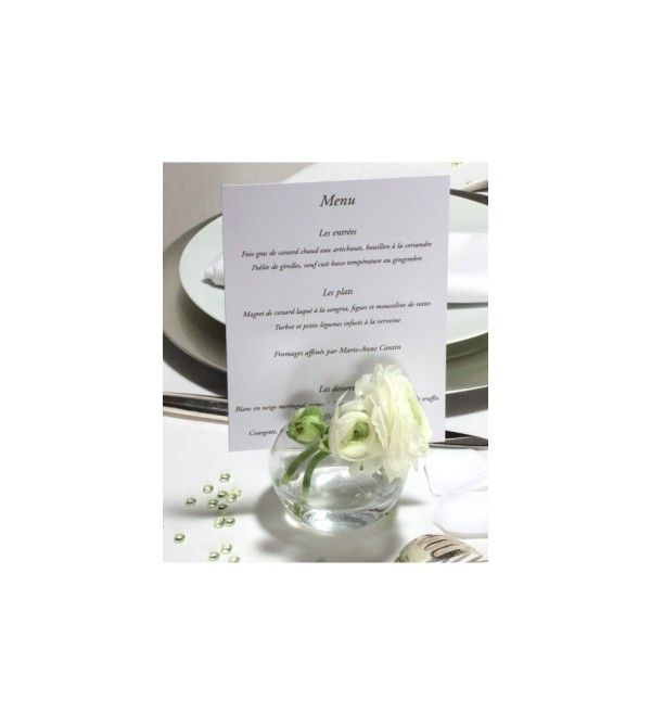 vase boule porte menu ou photo menu mariage pinterest menu mariage menus et la bulle. Black Bedroom Furniture Sets. Home Design Ideas