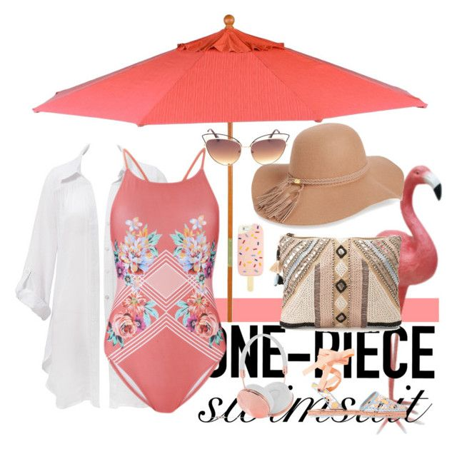 Untitled #33 by reskireski on Polyvore featuring Beauty & The Beach, MINKPINK, Sophia Webster, BLANK, BP., Frends, Tory Burch, Oxford Garden and onepieceswimsuit