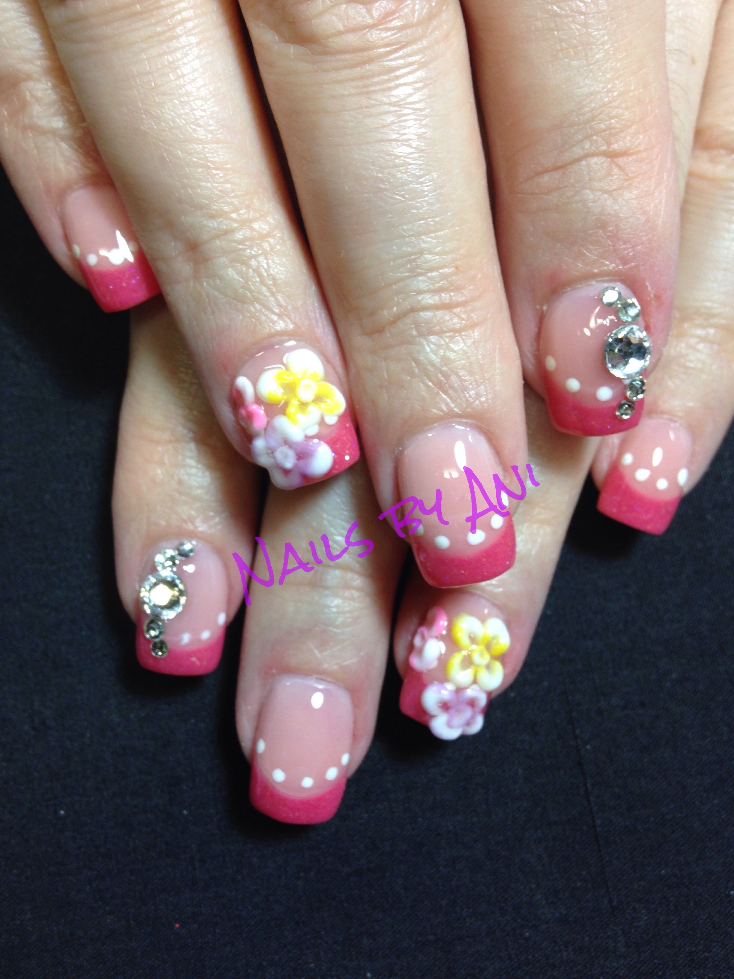 Spring Nails With 3d Design Acrylic Nail Designs Pinterest