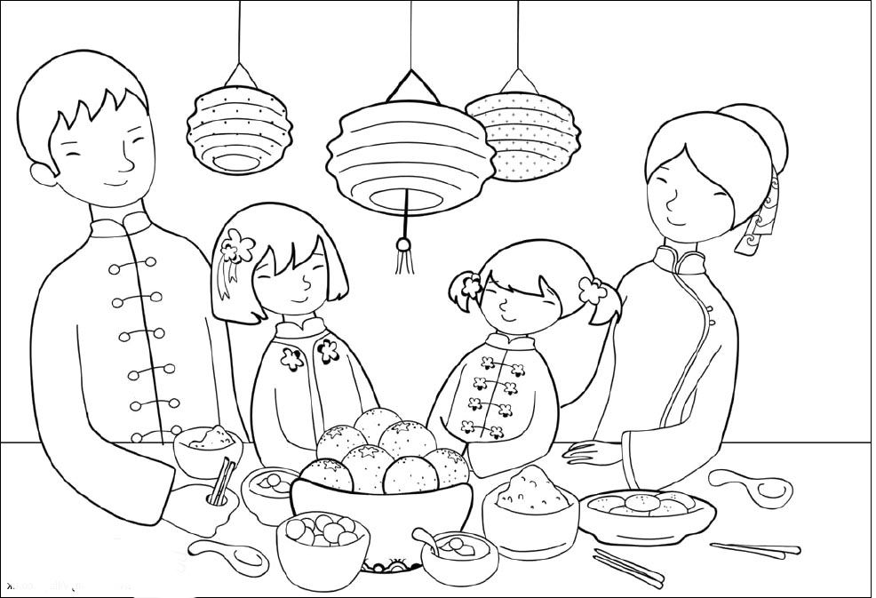 Food Party On Chinese New Year Coloring Pages New Year Coloring