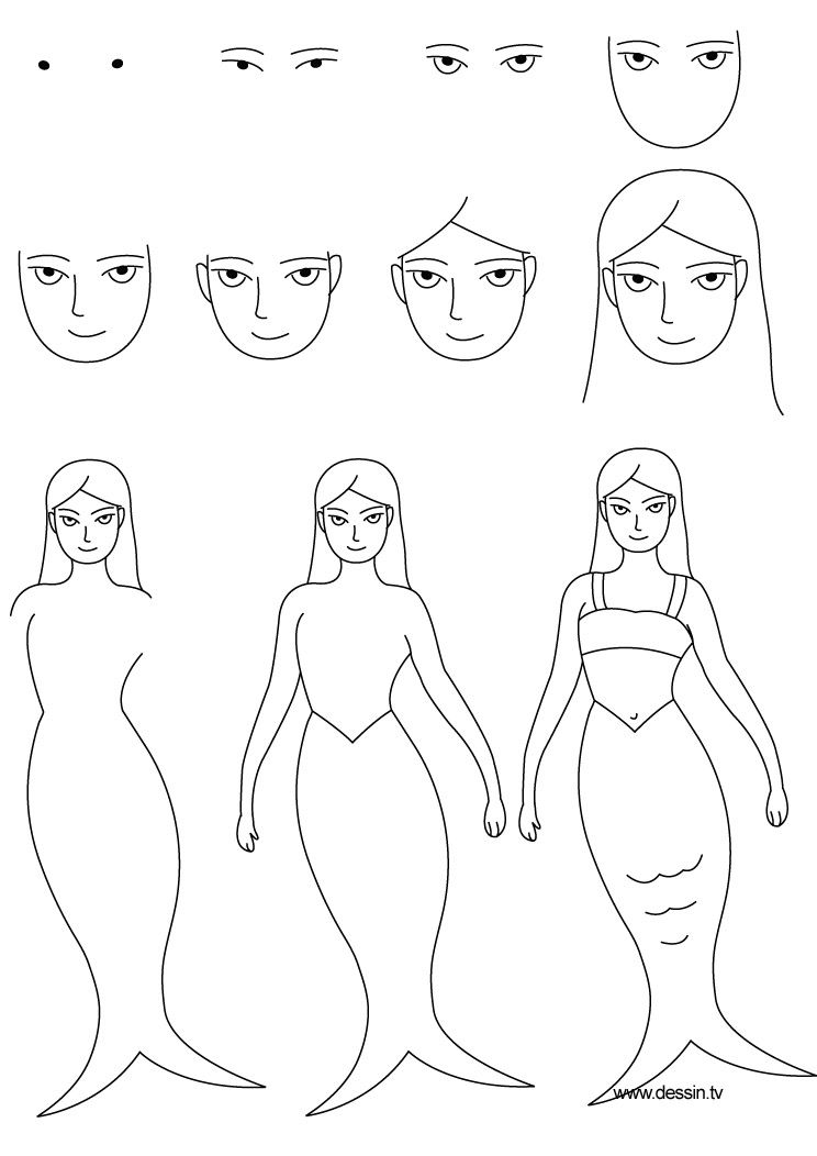 How To Draw A Mermaid Step By Step Learn How To Draw A Mermaid