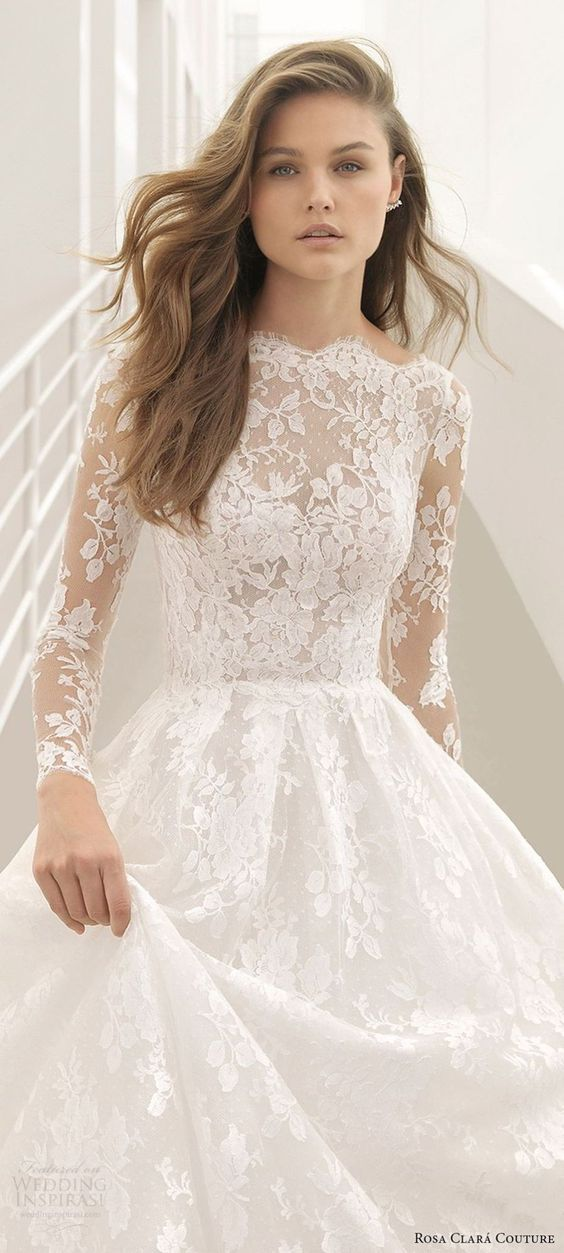 handmade custom dresses White lace printed long sleeve wedding dress with high waist