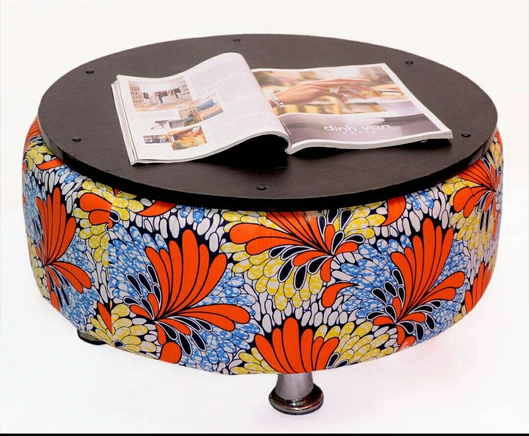 Ankara theme Ottoman table made from Upcycled tyre. Follow us on ...