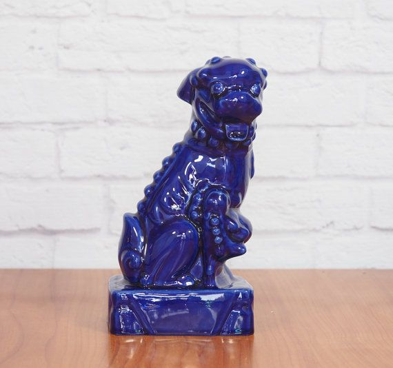 Royal Blue Foo Dog Statue Female Chinese Guardian Lion by FireflyVintageHome