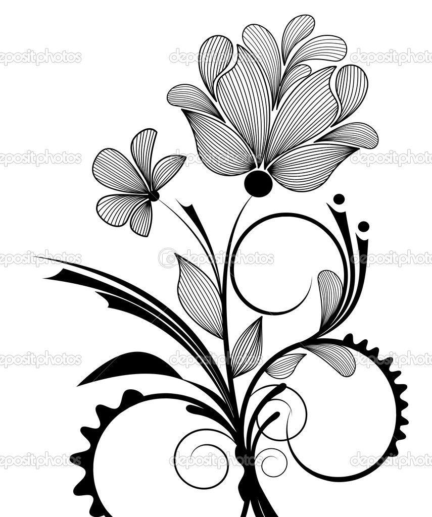 art deco flower designs   floral design - stock illustration