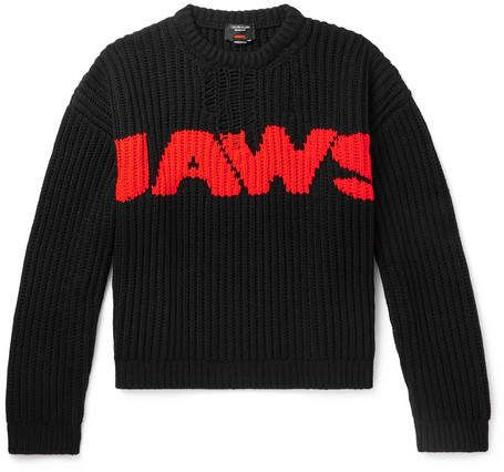 2adc23e1a Calvin Klein Jaws Distressed Intarsia-Knit Sweater in 2019 ...