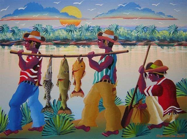 ARTISTA NAIF BRASILEIRO JOSINALDO BARBOSA TEMA A PESCA NO RIO SAO FRANCISCO - Pintura,  80 cm ©2007 por Arte Naif -