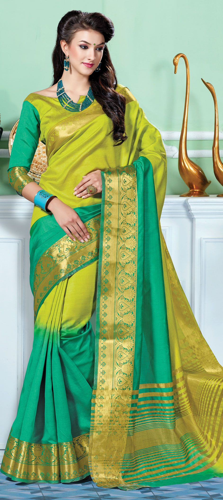 Green color family Printed Sarees, Silk Sarees | Things to Wear ...