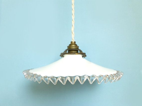 Antique lamp opaline white french suspension old lamp ceiling light shade white glass retro 1930 ceiling light