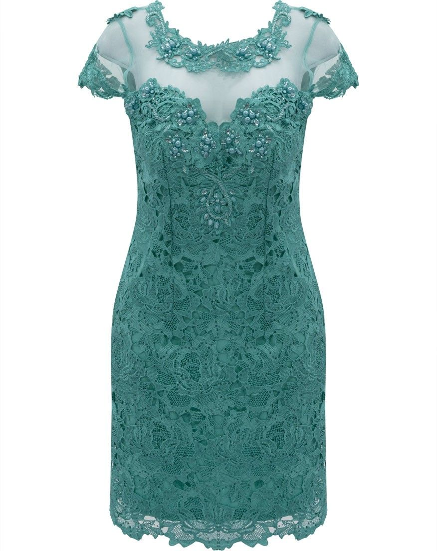 c4f2cacdc Vestido em Renda com Tule bordado e Pedrarias Seiki 980354 -Verde Mais