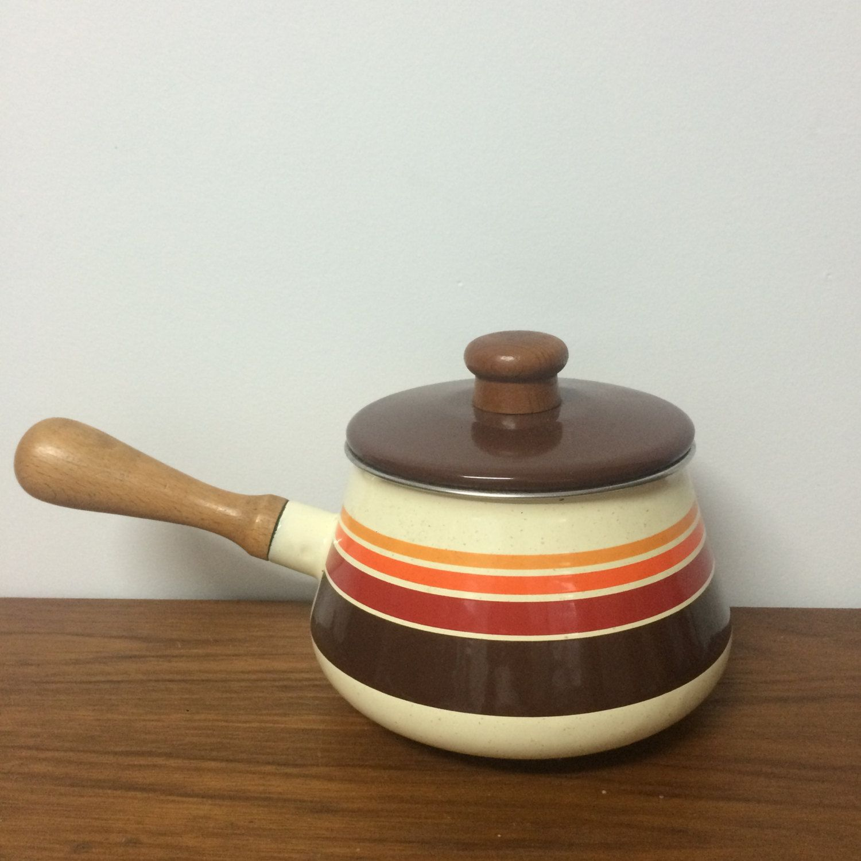 Vintage FONDUE Pot 70s kitsch, porcelain teak RETRO stripes orange ...