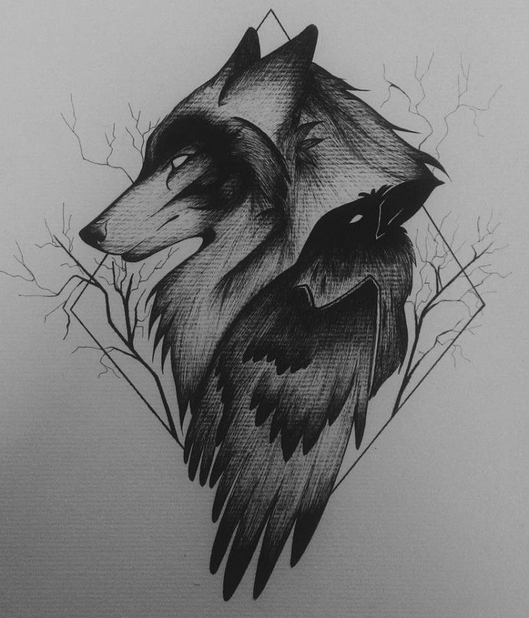 Wolf And Raven On Illustration Tattoos Tattoo Designs Wolf Tattoos