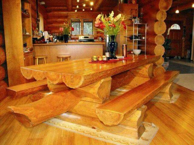 Wooden log table and benches
