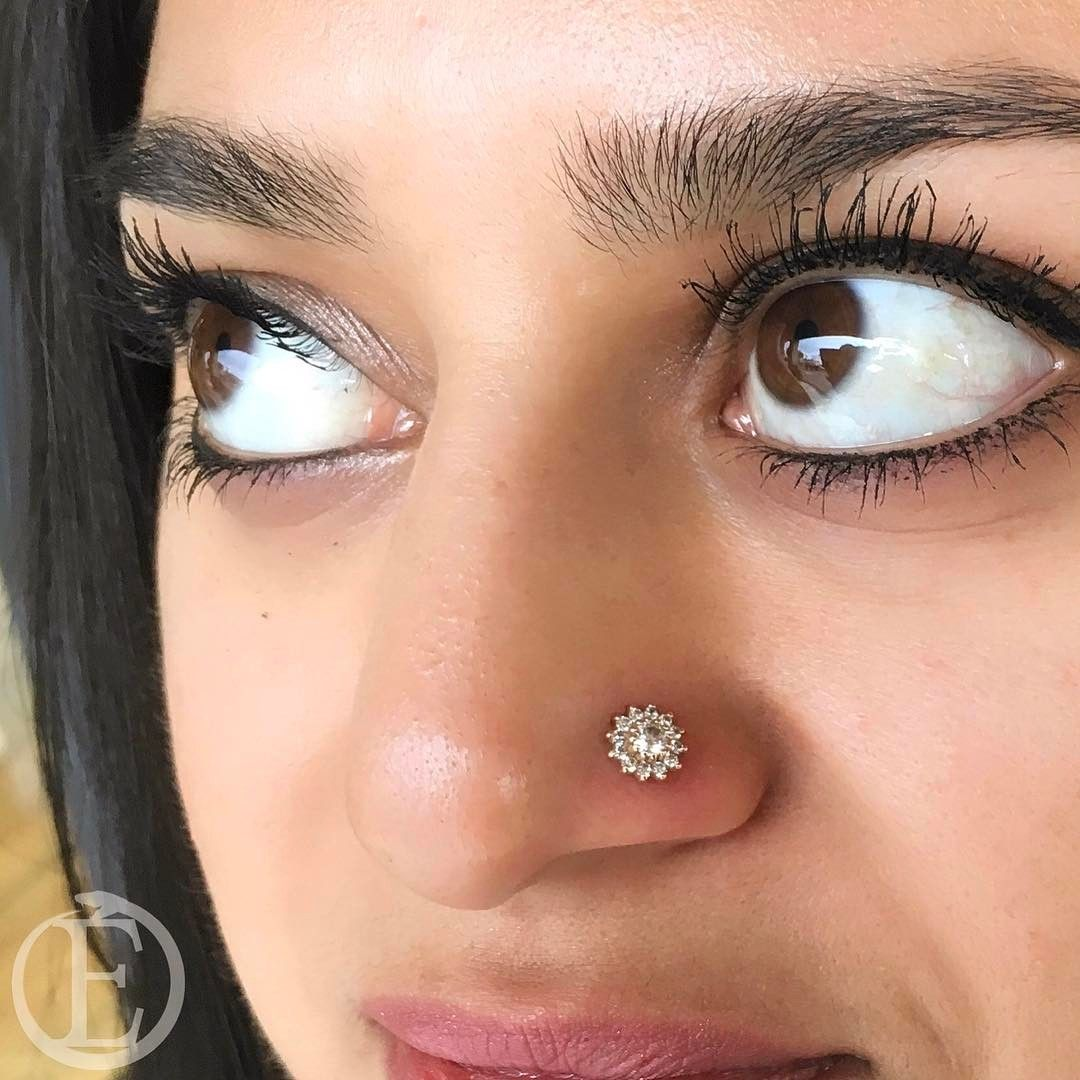 """Southbay & Long Beach Piercing on Instagram: """"Now that is a fancy nose piercing. Done with a 13 stone cluster set on 14kt rose gold. . . . . . #nosepiercing #nostrilpiercing #rosegold…"""""""