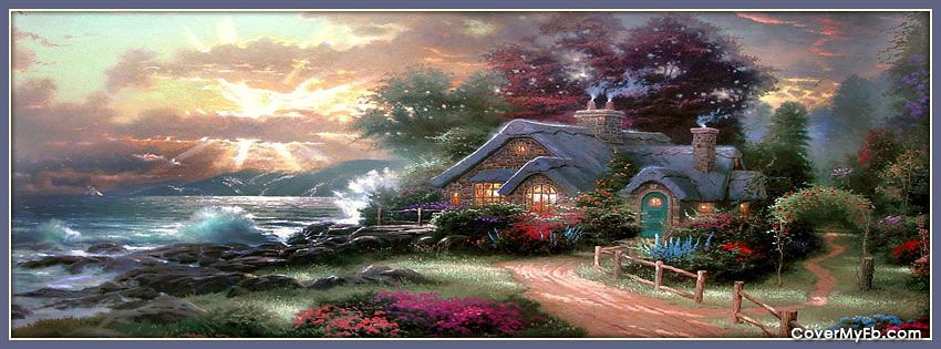 Spring Accommodation Facebook Covers: Thomas Kinkade Spring Cottage Facebook Covers, Thomas