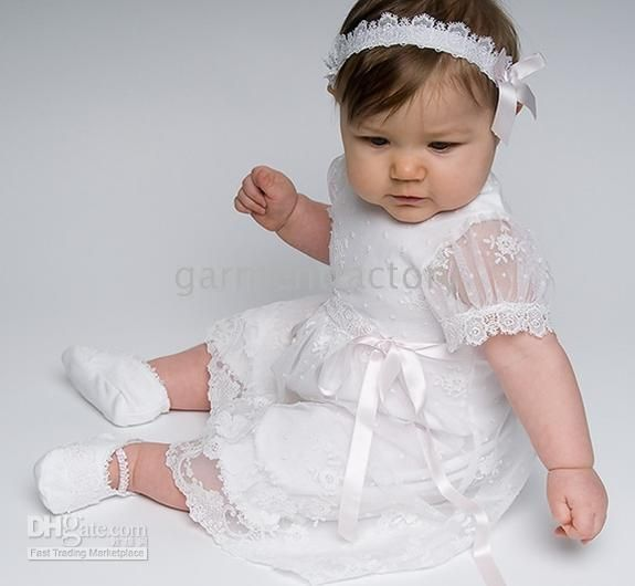 559695653 LOVE Wholesale Lovely Short Sleeved Ankle Length White Lace Cotton  Christening Dress Baptism Gown Robe Baby Jumpers, Free shipping,  $96.59/Piece .