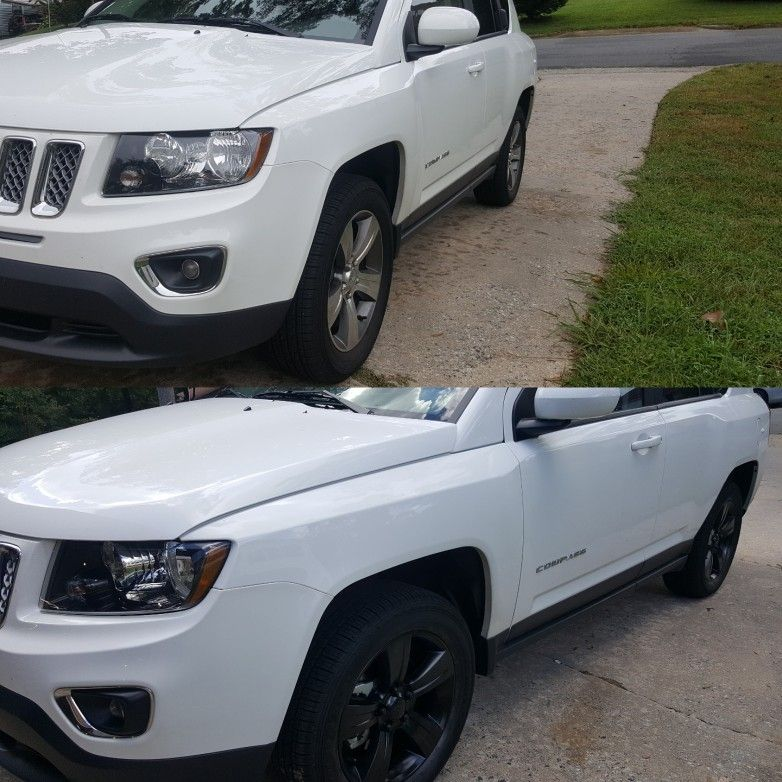 Before and after Satin black wheels on this Jeep Compass