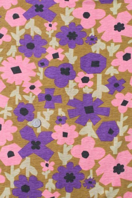 60s 70s Mod Vintage Retro Flower Print Cotton Poly Jersey Knit Fabric Retro Fabric Patterns Retro Flowers Flower Graphic