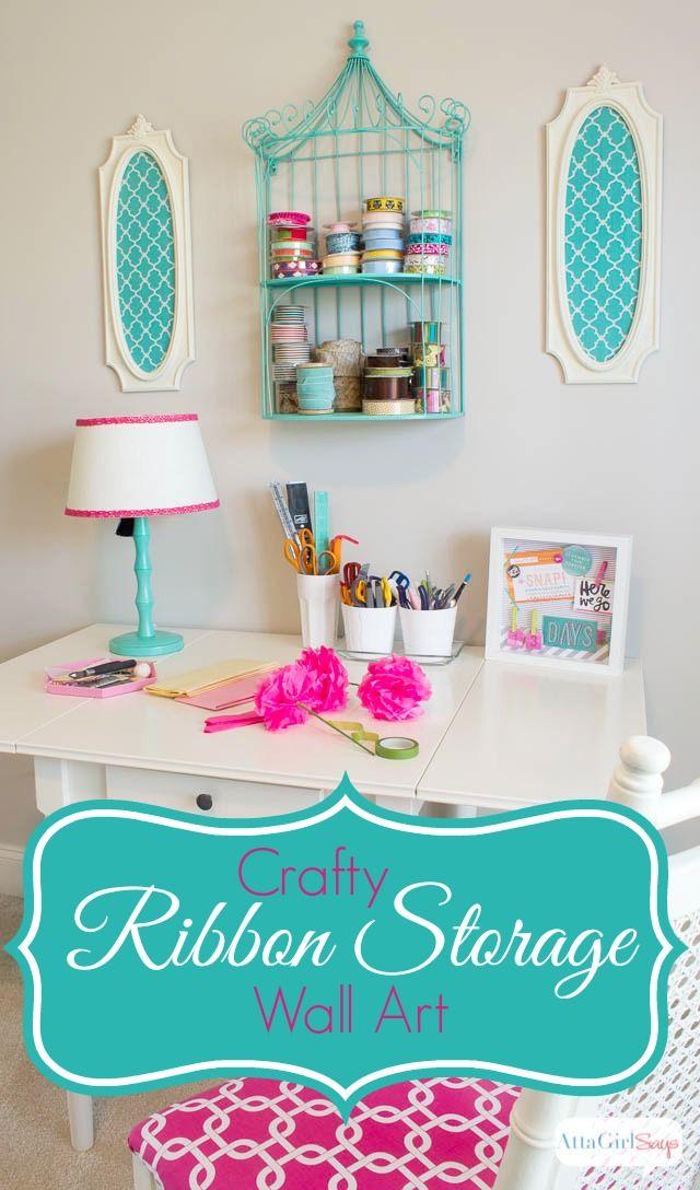 Diy Ribbon Organizer And Wall Art Craft Room Office Craft Room