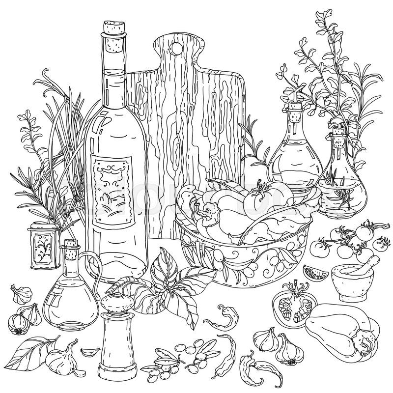 Italian Food Coloring Pages Background