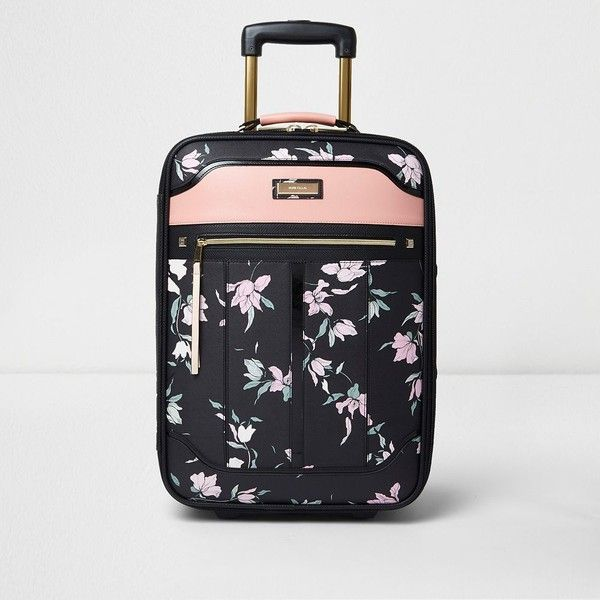 91c33dff033e1 River Island Black floral print cabin suitcase ( 160) ❤ liked on Polyvore  featuring bags and luggage