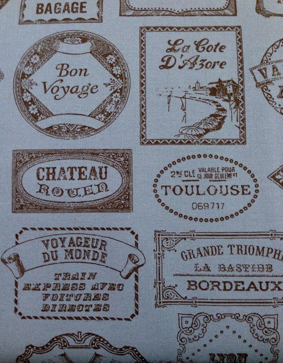 French General Bon Voyage Fabric Collection Moda Wood Melisse Dusty Blue Teal Travel Sticker Fabric Skein and Color 13703-12  Half Yard Cut