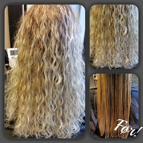 permanenta långt hår
