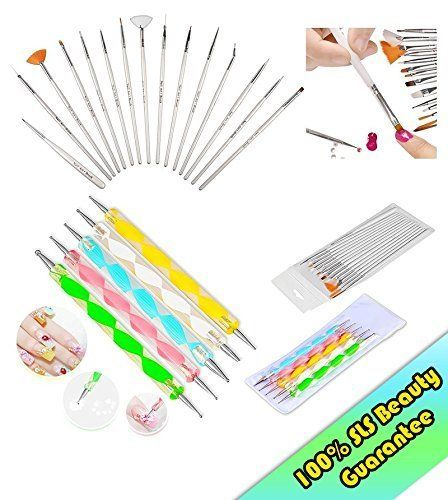 cool 20pc Nail Art Manicure Pedicure Beauty Painting Polish Brush and Dotting Pen Tool Set for Natural, False, Acrylic and Gel Nails