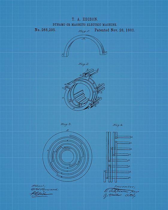 Thomas edisons generator blueprint patent patents for sale thomas edisons dynamo magneto electric machine blueprint patent by dan sproul malvernweather Choice Image