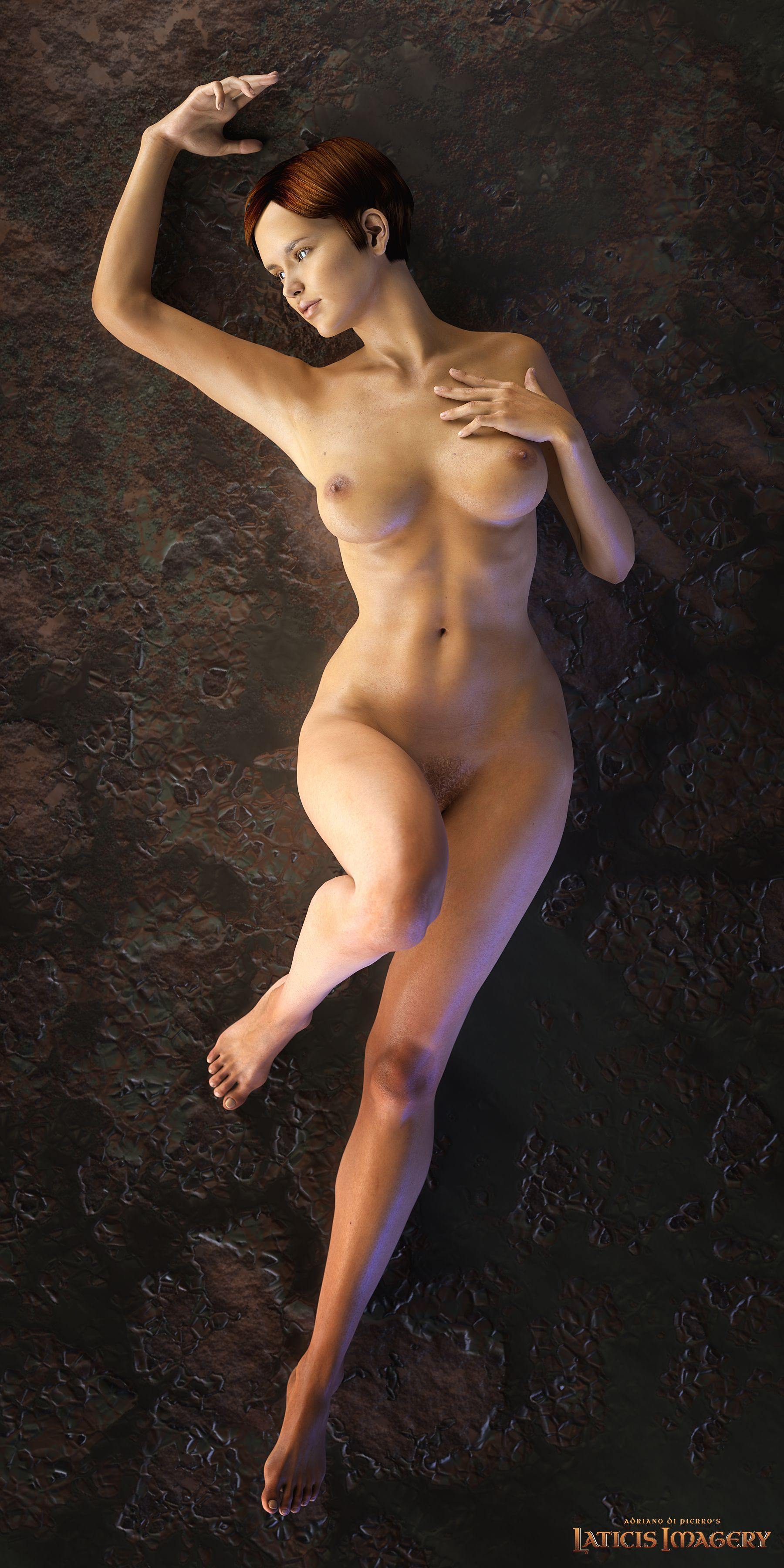 3D CG nude nude lying down full front 3d cg model