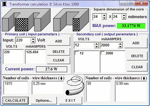 Donwload Transformer calculator program for calculating