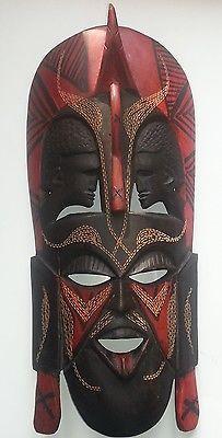 African Hand Carved Wooden Warrior Mask from Karibu Kenya
