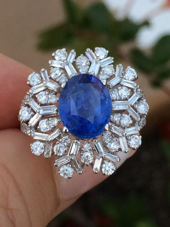 """18K Gold 6 42 Ct GIA Certified No 1 Heat Blue Ceylon Sapphire Diamond Ring 