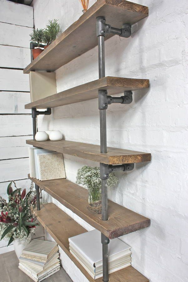 Roger reclaimed scaffolding and dark steel shelving for for Muebles industriales usados